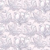 image of royal botanic gardens  - Vintage vector pattern with field of tulip flowers on soft pink background - JPG