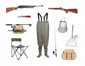Great collection of a fishing and hunting equipment isolated on a white background.