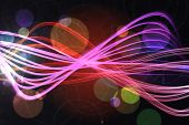 Digitally generated curved laser light design in pink