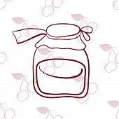 glass jar on the background of cherries