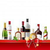 Alcohol drinks border over white background - vector