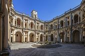 Tomar, Portugal - July 18, 2013: Dom Joao III Cloister (Renaissance masterpiece) in the Templar Conv