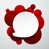 Vector illustration of white paper round speech bubble over red background. Eps10.