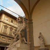 foto of pio  - Rape of Polyxena XIX century sculpture of Pio Fedi in Loggia dei Lanzi in Florence - JPG