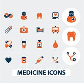 medicine, health icons, signs, elements set, vector