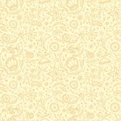 foto of protozoa  - Handmade seamless pattern or background with abstract marine word in beige yellow colors - JPG