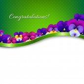 Congratulations Card Flowers Pansies With Gradient Mesh, Vector Illustration