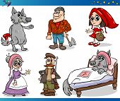 image of little red riding hood  - Cartoon Illustrations Set of Little Red Riding Hood Fairy Tale Characters - JPG