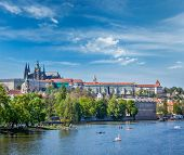 stock photo of paddling  - Panorama view of Vltava river and Gradchany  - JPG