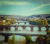 Vintage retro hipster style travel image of travel Prague concept background - elevated view of brid