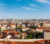 Aerial view of Prague from Prague Castle. Prague, Czech Republic