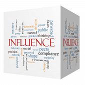 picture of peer-pressure  - Influence 3D cube Word Cloud Concept with great terms such as example control beliefs and more - JPG