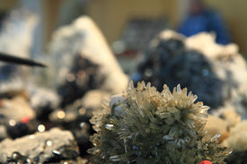 stock photo of ore lead  - natural crystals on the lead  - JPG