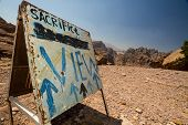 foto of camel-cart  - A sign leading to one of the best views on the archaeological site of Petra Jordan - JPG