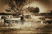 image of graveyard  - Aged American Cars Graveyard Somewhere in California - JPG