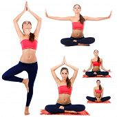 image of jerks  - Collage of young beautiful fitness girl doing yoga exercise isolated on white - JPG