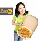 stock photo of take out pizza  - Beautiful girl with delicious pizza in pizza box isolated on white - JPG