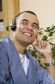 picture of pacific islander ethnicity  - Pacific Islander man wearing headset - JPG
