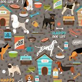 stock photo of shepherds  - Dogs vector seamless background pattern with a german shepherd  pug  bloodhound  rottweiler  beagle  dalmation  poodle  fox terrier and pitbull with their bones  toys and dog food - JPG