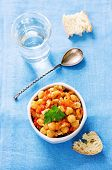 pic of pangasius  - chickpeas with vegetables and pangasius on a light blue background - JPG