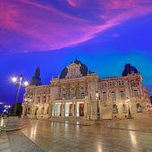 image of city hall  - Ayuntamiento de Cartagena sunset city hall at Murcia Spain - JPG