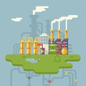 image of manufacturing  - Retro Flat Factory Refinery plant Manufacturing Products Processing Natural Resources with Distribution Network Pipes Concept Vector Illustration - JPG
