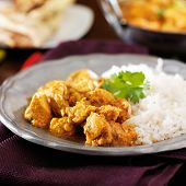 stock photo of curry chicken  - indian butter chicken curry with basmati rice - JPG