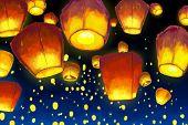 image of deepavali  - vector illustration of floating lantern in night sky - JPG