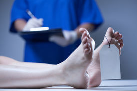 picture of morbid  - Horizontal view of nurse in a mortuary - JPG