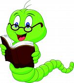 image of worm  - Vector illustration of Cartoon worm reading book - JPG