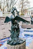 stock photo of metal sculpture  - Fairy bird bronze sculpture in Moscow Russia - JPG