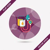 picture of sphygmomanometer  - Sphygmomanometer Flat Icon With Long Shadow - JPG