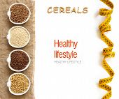 image of cereal bowl  - Cereals in bowls border with word Cereals isolated in white - JPG