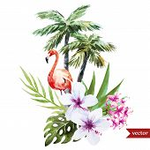 stock photo of pink flamingos  - Beautiful vector watercolor pattern with flamingo palm and flowers - JPG