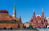 picture of lenin  - Historical Museum and Lenin mausoleum on the Red Square Moscow Russia - JPG