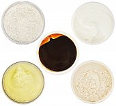 Set Of 5 Different Dermal Masks And Scrubs Isolated On White poster
