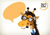pic of telephone operator  - Portrait of happy smiling cartoon giraffe support phone operator in headset - JPG