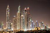 pic of dubai  - Dubai Marina skyscrapers at night - JPG