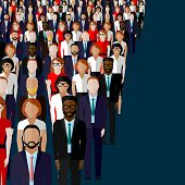 pic of wearing dress  - vector flat illustration of business or politics community - JPG
