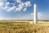 stock photo of collapse  - A halfway deconstructed wind turbine that collapsed during a storm in the Eifel Germany - JPG