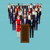 picture of leader  - vector flat  illustration of a speaker - JPG