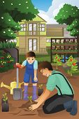 foto of garden-art  - A vector illustration of father and son planting in the garden together - JPG