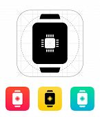 stock photo of cpu  - CPU in smart watch icon - JPG