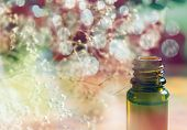 stock photo of small-flower  - Essence bottle and small white flowers on colorful bokeh background - JPG