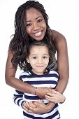 image of afro  - Afro American mother and son on white background - JPG