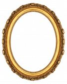 picture of oval  - Oval Gold Picture Frame Isolated on White - JPG