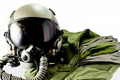 stock photo of oxygen  - Military pilot flight suit with pilot glove  - JPG