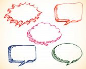 image of hand drawn  - illustration of colorful speech bubble in doodle sketchy style - JPG
