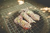 picture of flame-grilled  - Grilled squids with butter and herb on flaming grill  - JPG