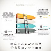 pic of step-ladder  - Futuristic 3D infographic made of direction signs and ladder - JPG